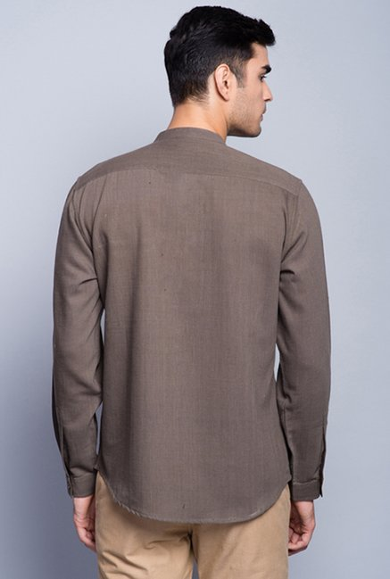 Fabindia Brown Solid Shirt