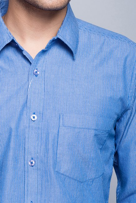 Fabindia Blue Striped Cotton Shirt