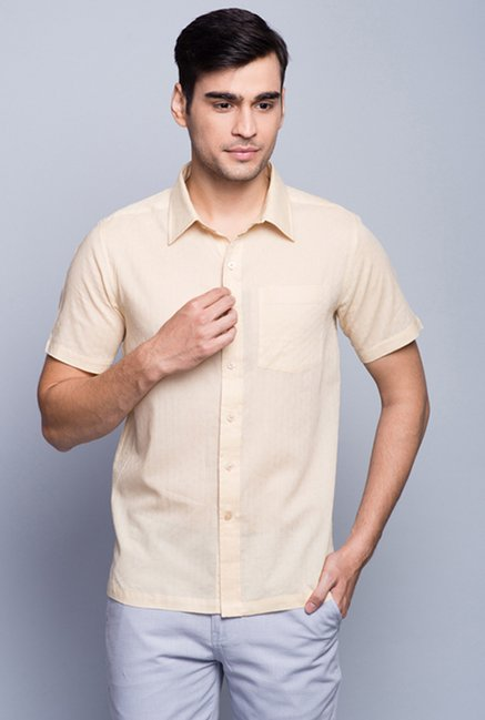 Fabindia Beige Solid Cotton Shirt