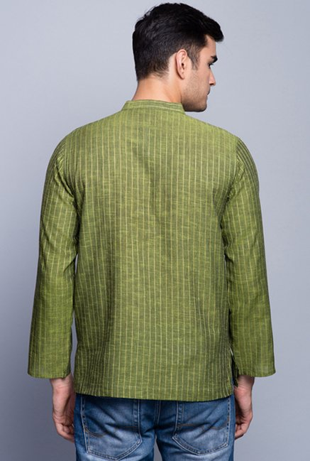 Fabindia Green Striped Kurta