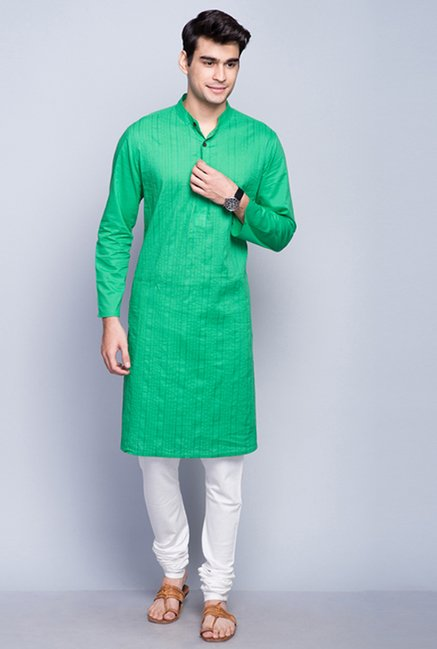 Fabindia White Solid Cotton Churidar