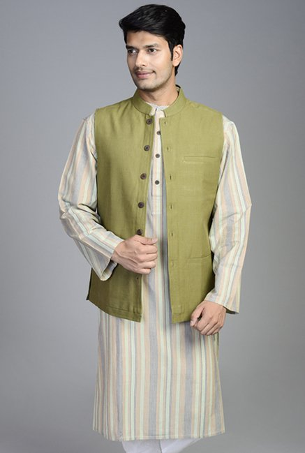 Fabindia Olive Solid Cotton Nehru Jacket