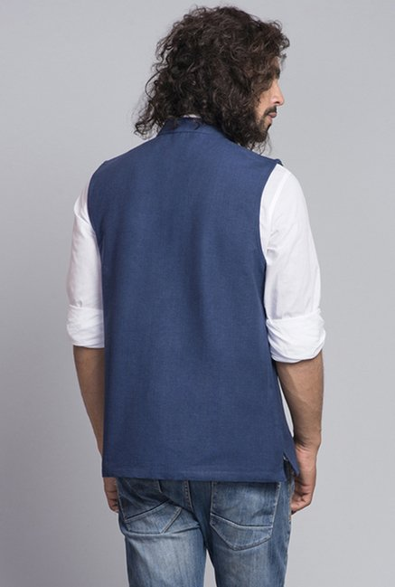 Fabindia Navy Solid Sleeveless Nehru Jacket