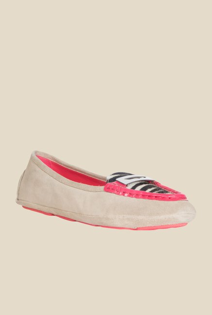 Geox Beige & Pink Moccasin Shoes