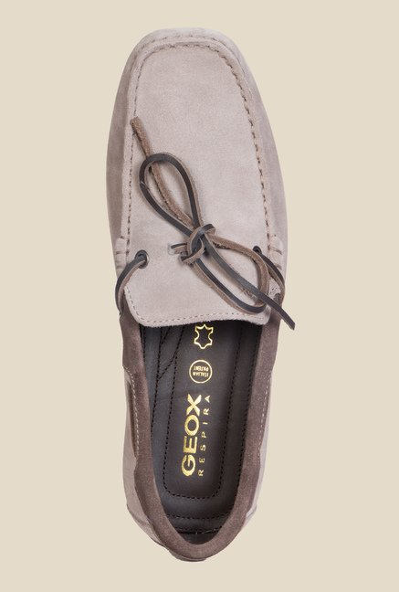 Geox Taupe & Ebony Boat Shoes