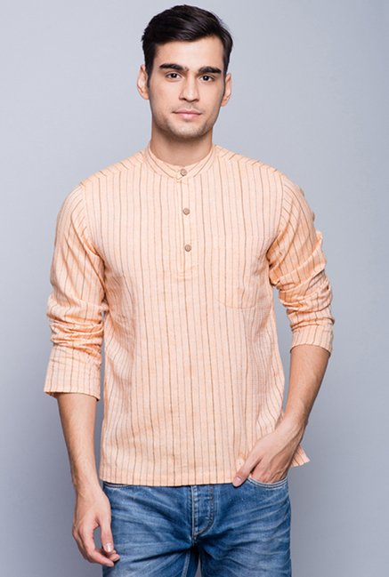Fabindia Peach Striped Kurta