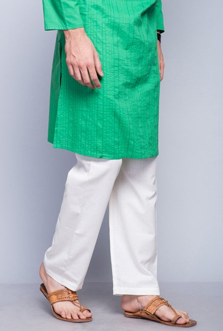 Fabindia White Solid Cotton Pyjama