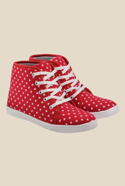 Nell Red & White Sneakers