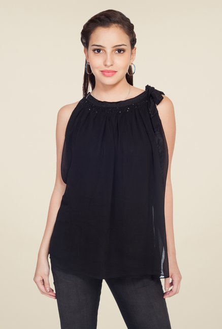 Soie Black Solid Chiffon Top