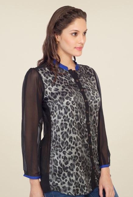 Soie Grey Animal Print Top