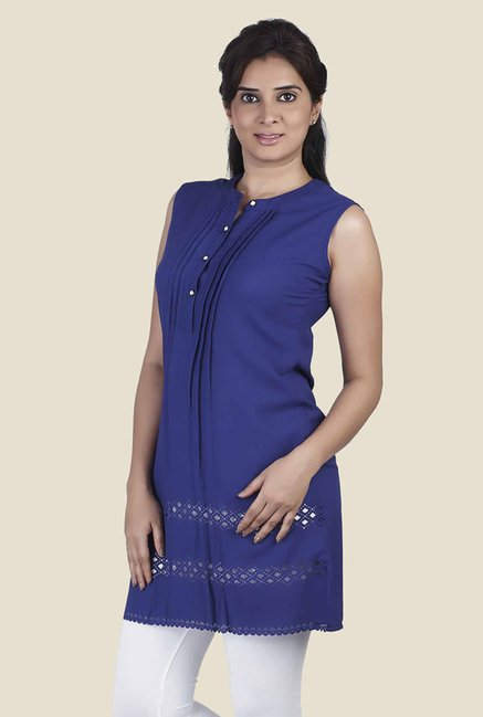 Soie Blue Solid Tunic