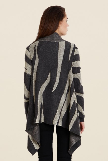 Soie Charcoal Animal Print Cardigan