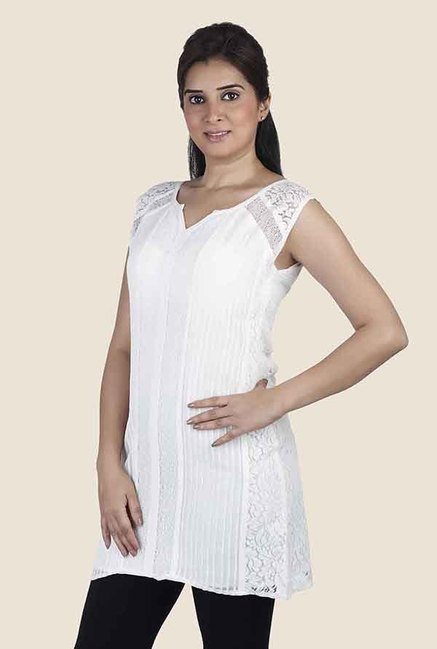 Soie White Lace Sleeveless Tunic