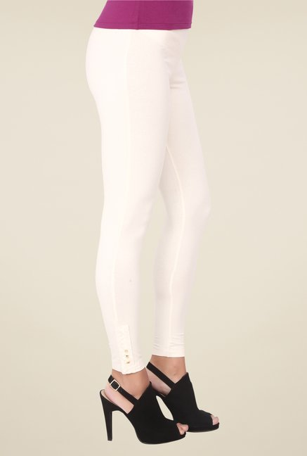 Soie Ivory Solid Low Rise Leggings