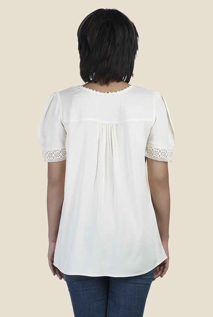 Soie Off White Solid Relaxed Fit Top