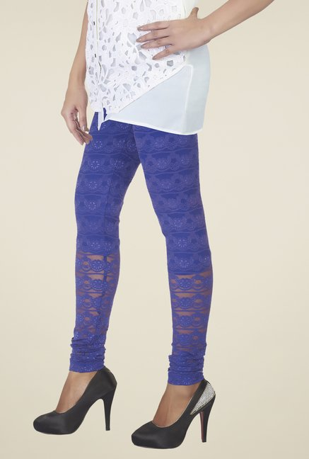 Soie Royal Blue Embroidered Leggings