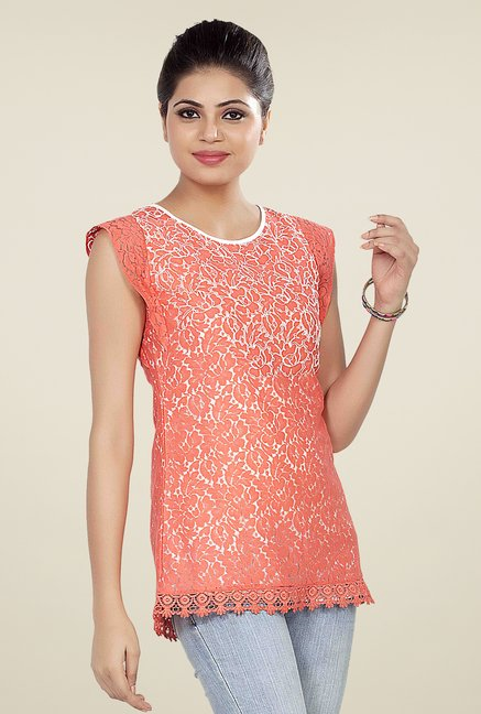 Soie Peach Embroidered Top