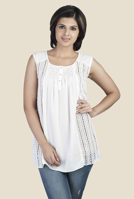 Soie Off White Solid Sleeveless Top