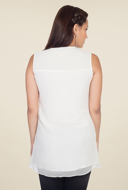 Soie Off White Lace Sleeveless Top