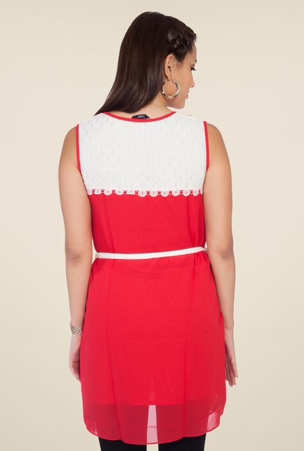 Soie Red Solid Tunic