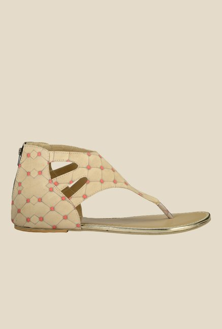 Nell Beige Thong Sandals