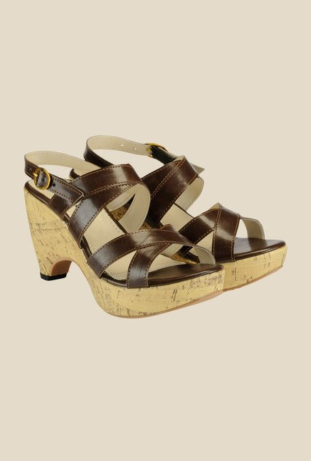 Nell Brown Back Strap Wedges