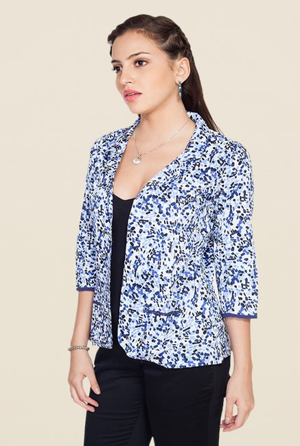 Soie Blue Cotton Printed Jacket