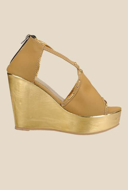 Nell Beige & Golden Wedge Heeled Sandals