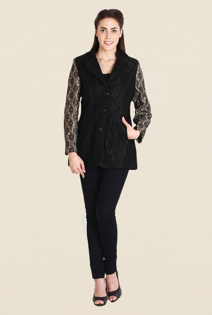 Soie Black Lace Overcoat