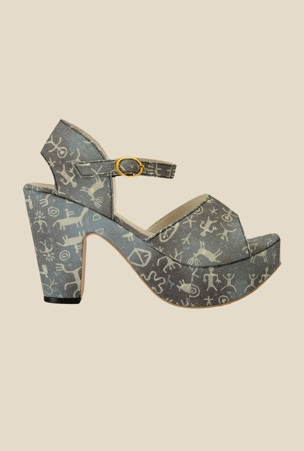 Nell Grey Ankle Strap Sandals