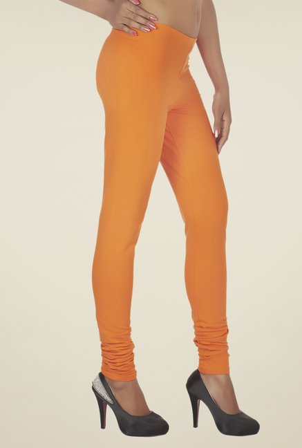 Soie Orange Solid Cotton Leggings