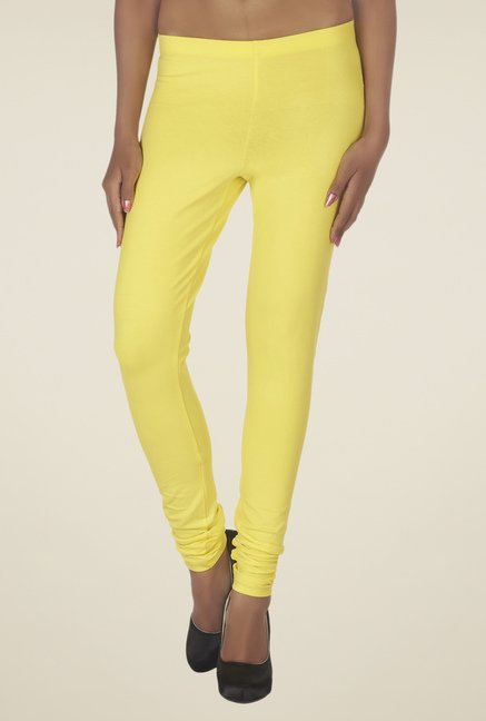 Soie Yellow Solid Leggings