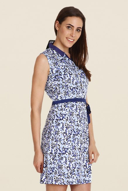 Soie Blue & White Printed Dress