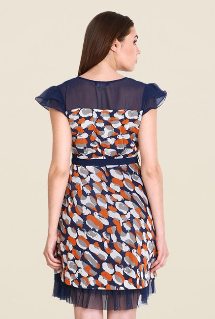 Soie Navy Printed Dress