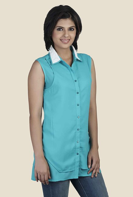 Soie Turquoise Solid Shirt