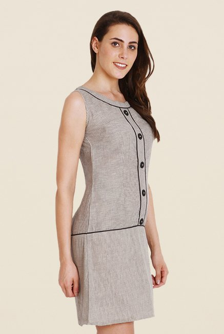 Soie Grey Striped Dress