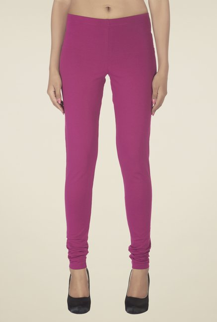 Soie Wine Solid Cotton Leggings