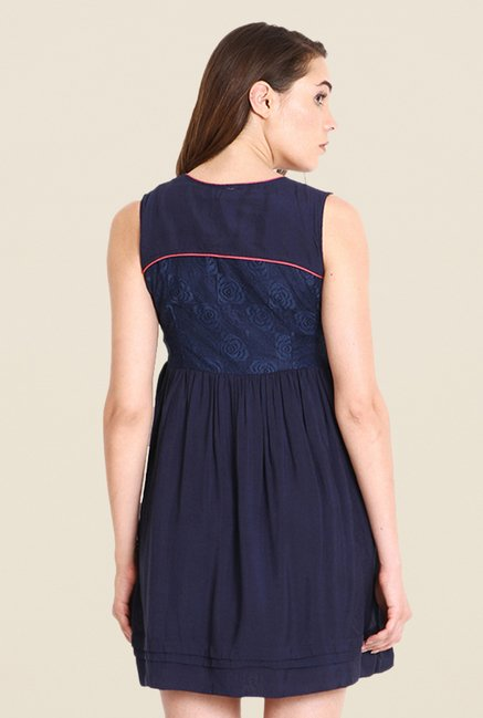 Soie Navy Solid Dress
