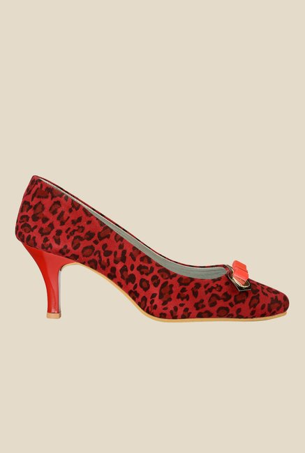 Nell Red & Black Stiletto Heeled Pumps