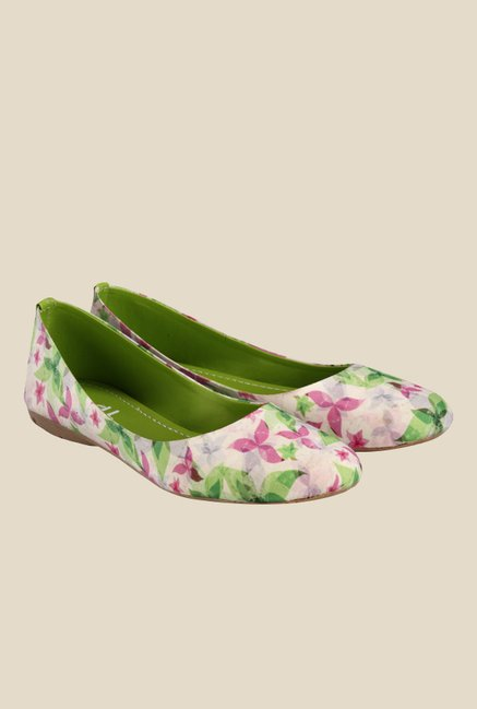 Nell White & Green Flat Ballets
