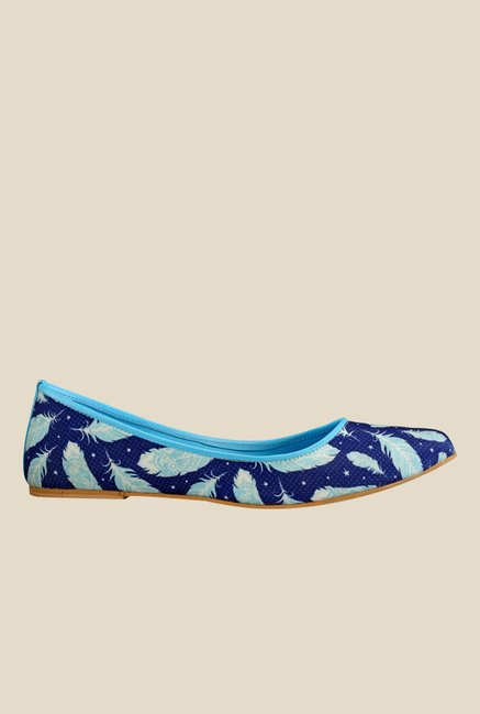 Nell Navy & Turquoise Flat Ballets
