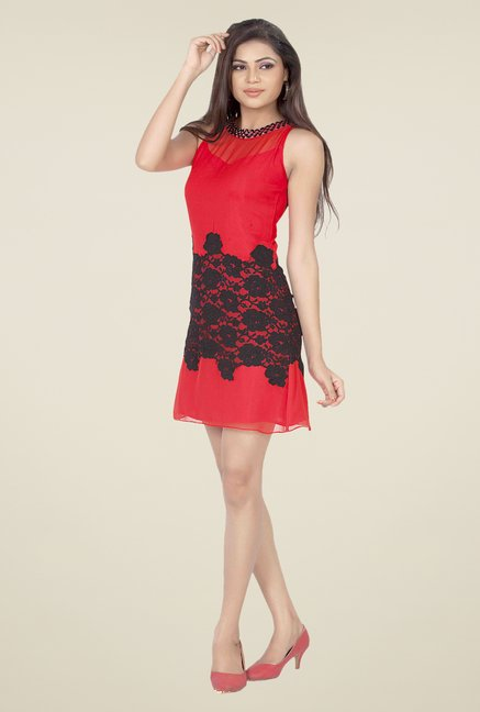 Soie Red Embroidered Dress