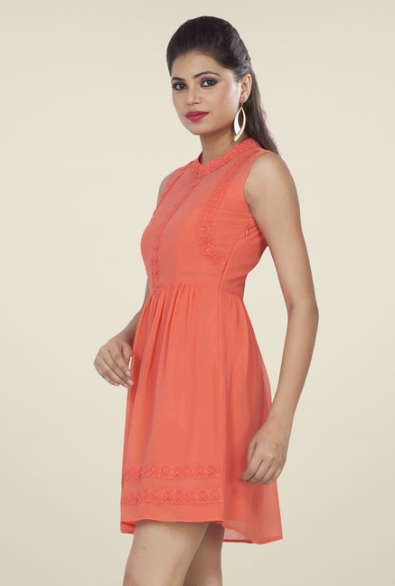 Soie Coral Solid Dress