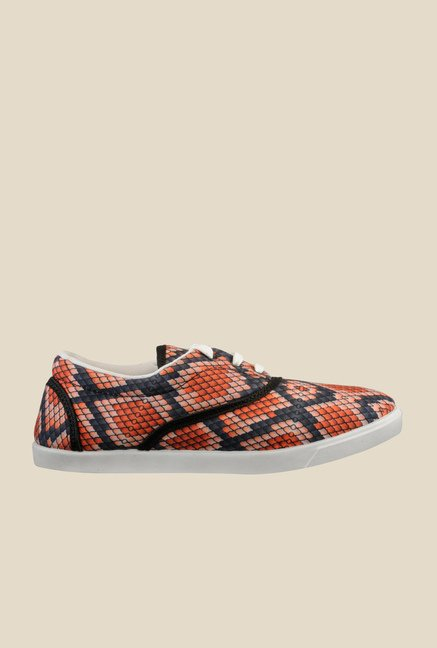 Nell Orange & Black Plimsolls