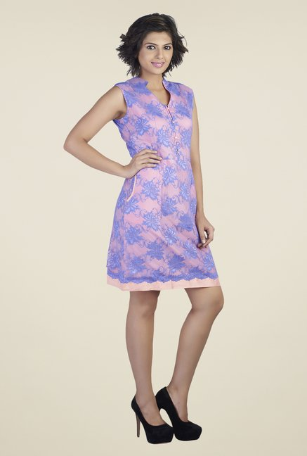 Soie Pink & Blue Embroidered Dress