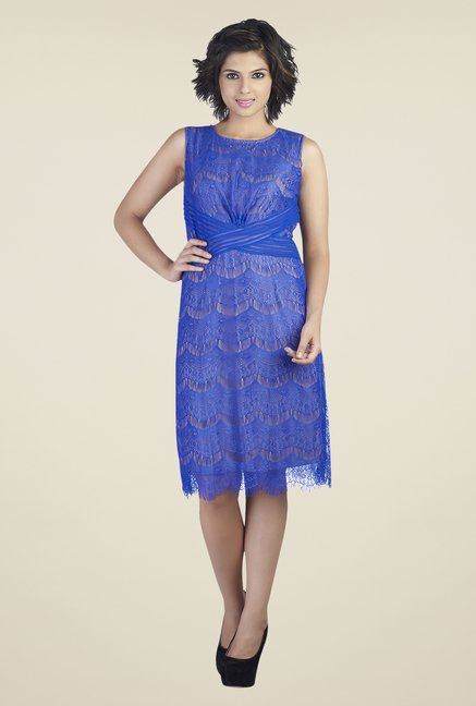 Soie Dark Blue Lace Dress