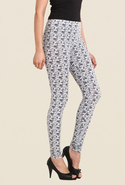 Soie Grey Printed Cotton Lycra Leggings