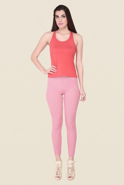 Soie Pink Heart Print Leggings