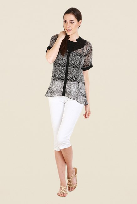 Soie Black Printed Top
