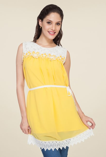 Soie Yellow Solid Tunic